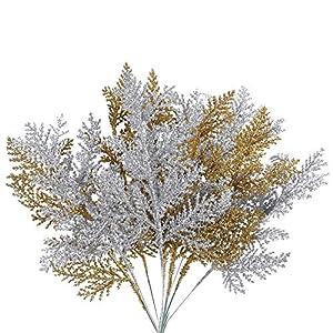 NAHUAA 10PZ Rami di Natale Artificiali Pianta Artificiale in Oro e Argento per la Decorazione Festa di Natale Splendente Biglietti d'auguri da Sera a Casa Matrimonio Floreale Fai da Te 3 spesavip
