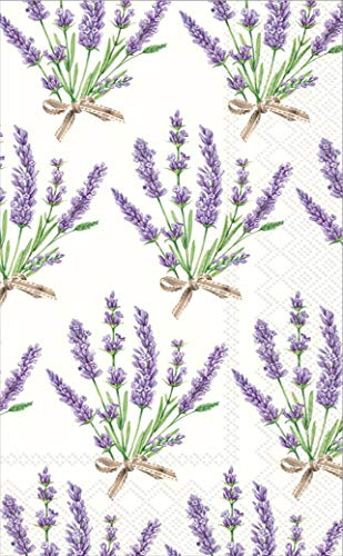 Ideal Home Range 32 Count 3-Ply Paper Guest Towel Dinner Buffet Napkins, Bouquet of Lavender -