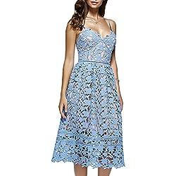 Dezzal Women's Elegant Spaghetti Straps Backless Crochet Lace Midi Dress (S, Azure)