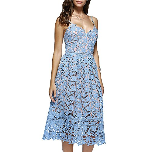 Dezzal Women's Elegant Spaghetti Straps Backless Crochet Lace Midi Dress (S, Azure)