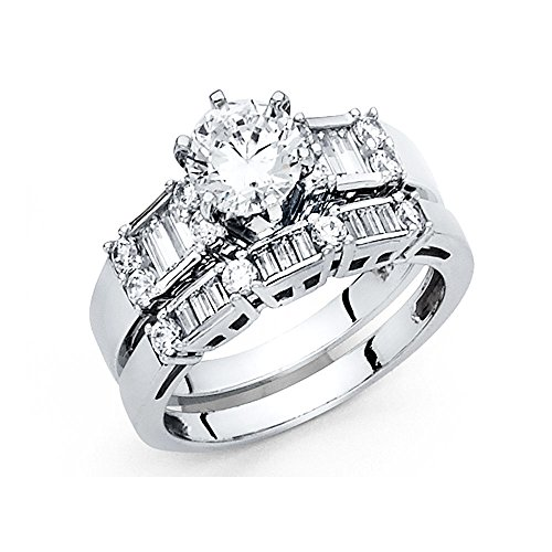 14K Solid White Gold 2.0 cttw