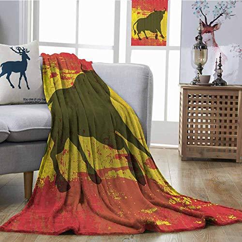 Zmcongz Reversible Blanket Spanish Bull Antiqued Aged Symbol
