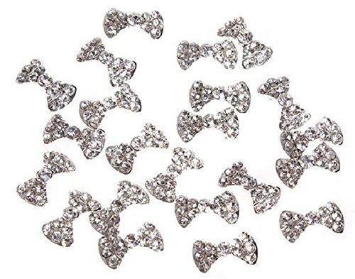 Atdoshop(TM) 20x Alliage 3D Papillon Bow Tie Glitters tranches Pour Obtenir des Conseils de Nail Art de Décorations Bricolages