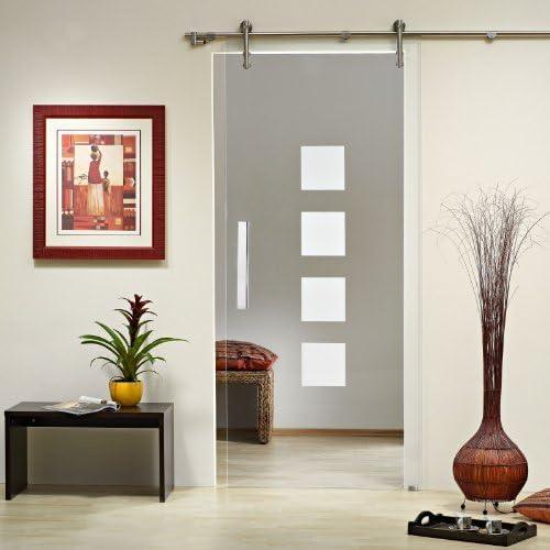Puerta Corredera de Cristal ST 993 – 900 x 2050 x 8 mm DIN derecha, 8 mm vidrio de seguridad, vidrio transparente con decoración, pomos y sistema corredero) V1000: Amazon.es: Bricolaje y herramientas