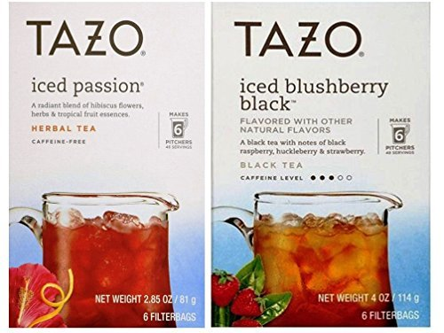 Tazo Iced Tea Pitcher Bag Flavored Teas 2 Flavor Variety Bundle; (1) Tazo Iced Passion Caffeine-Free Herbal, and (1) Tazo Iced Blushberry Black, 2.85-4.0 Oz. Ea. -