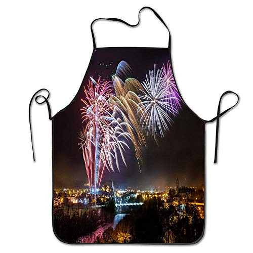 Strabane Halloween Fireworks Display 2017 Apron Durable Easy Cleaning Creative Bib for Man and Woman Standar Size Kitchen Apron Bib Aprons -