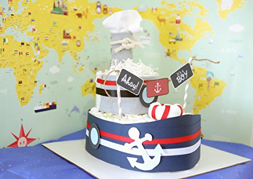 Nautical Boat Diaper Cake for Baby Boy / Baby Shower Cent...