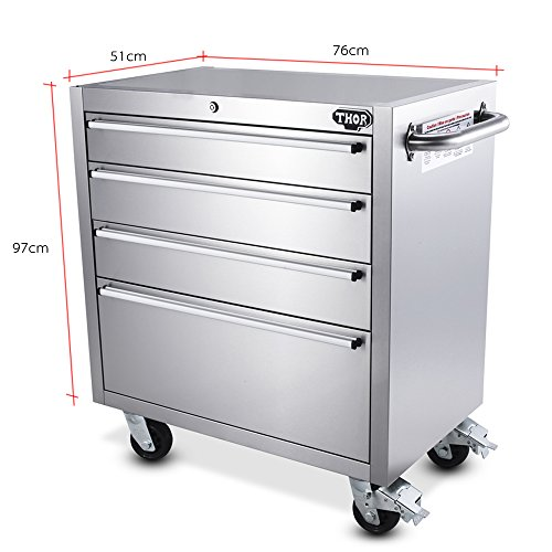 Thor kitchen 30 inch stainless steel rolling tool chests 4 - 26 inch kitchen cabinet ...