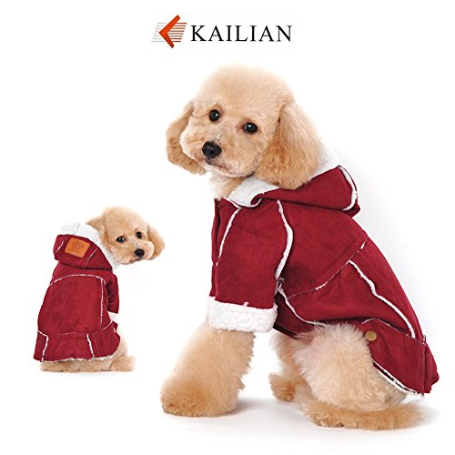 Kailian Dog winter Jacket Puppy Hooded Coat, Dog Apparel,Dog Snowsuit, Faux Shearling Fabric Coat Cotton Clothes (Suede Dog Coat Jacket Clothes)