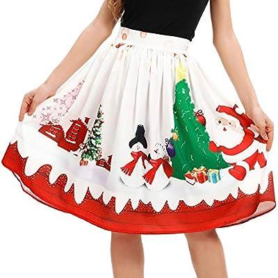 VEZAD Christmas Santa Flare Skirt Women Elastic High Waist Cosplay Ball Gown Skirt
