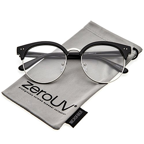 zeroUV - Classic Horn Rimmed Round Clear Flat Lens Half Frame Eyeglasses 55mm (Black-Silver/Clear)