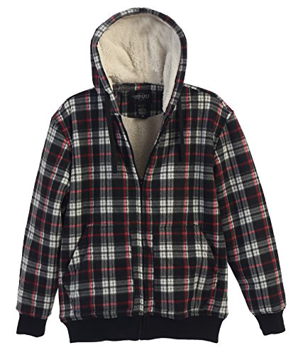 Gioberti Mens Checkered Flannel Hoodie Jacket with Sherpa Lining, Cross / Red Line B, S
