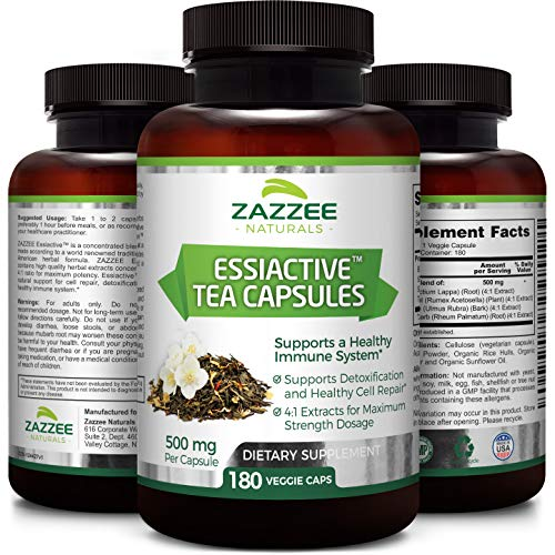 Essiac Tea Capsules | 180 Veggie Capsules | 500 mg per Capsule | 4X Concentrated Extract is The Strongest Essiac Supplement Available | Vegetarian/Vegan | Supports a Healthy Immune (Essiac Original Formula)