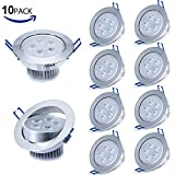 Liqoo 10 pcs 5W LED Recessed Ceiling Spot Light Spotlight Lamp Warm White AC85-265V 450-500 Lumen 2835 SMD 108 x 60mm (Equivalent 40W)