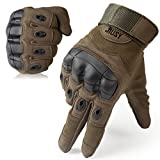 JIUSY Touch Screen Military Rubber Hard Knuckle Tactical Gloves Full Finger Airsoft Paintball Outdoor Army Gear Sports Cycling Motorcycle Riding Shooting Hunting Size X-Large Green