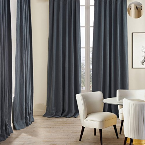 French Bronze (ChadMade Premium Double Layers Antique Bronze Grommet Eyelet Linen Cotton French Blue Curtain Drapery (1 Panel) In 50Wx108L inch)