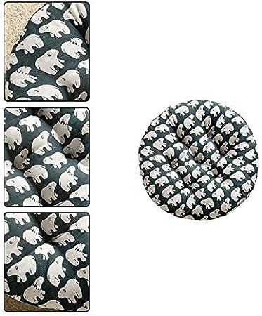 Bledyi Coussins de Chaise Ronds Doux et durables Motif Tatami Jaune 40cm Vert 40
