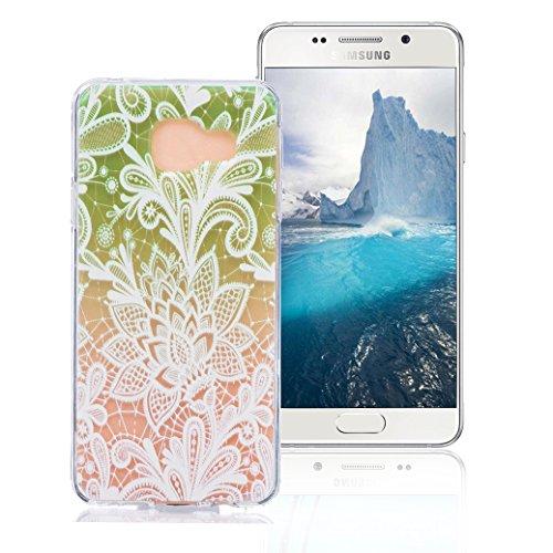 Funda Samsung Galaxy A5 2016 SM-A510F, AllDo Funda TPU Silicona para Samsung Galaxy A5 2016 SM-A510F Funda Transparente Claro Carcasa Flexible Suave TPU Silicone Case Soft Cover Carcasa Protectora Fun Loto Verde
