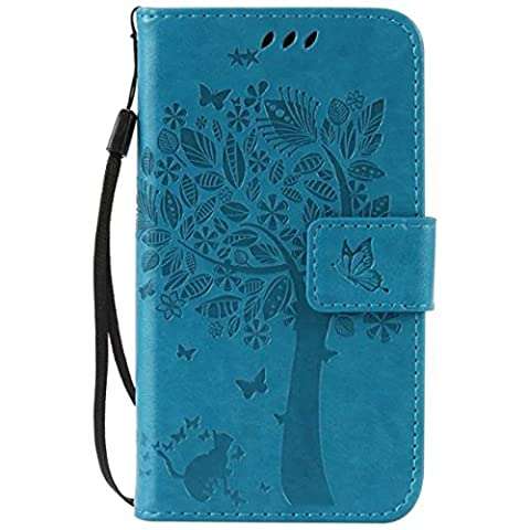 G386F Case, Galaxy Avant G386 Case, Love Sound [Cat Tree Butterfly/Blue] [Wrist Strap] Luxury PU Leather Wallet Case Flip Cover Built-in Card Slots Stand for Samsung Galaxy Core LTE 4G (Samsung Galaxy Core Lte Case G386)