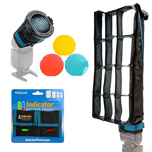 Rogue FlashBender 2 XL Pro Lighting System + Rogue 3-in-1 Flash Grid + Indicator Battery Pouch v2 by Rogue Photographic Design