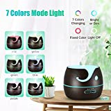 VicTsing 400ml Aroma Essential Oil Diffuser, Cute Elephant Shape Wood Grain Ultrasonic Cool Mist Humidifier with 7 Color LED Lights, Waterless Auto Shut-off for Office Home Room Yoga Spa