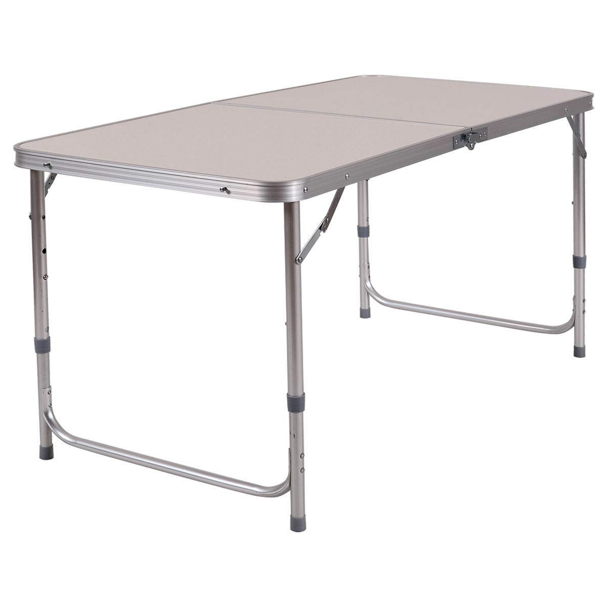 PNPGlobal Portable Outdoor Table Aluminum Folding Camping Picnic Table Adjustable Height New Size 2FT X 4FT by PNPGlobal