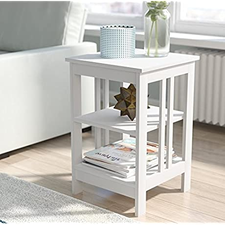 Square End Table Coffee Table With Two Storage Shelves Side Table With Under Storage Shelves Room D Cor End Table White Finish Cocktail Table Furniture Table Top TV Table