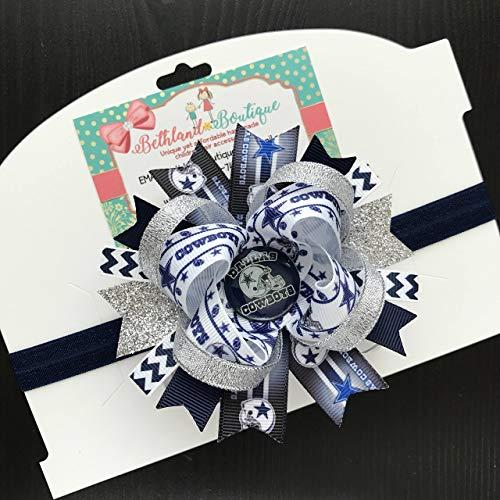ecedc25a17d Amazon.com: Dallas Cowboys Infant Headband, NFL Football Dallas Cowboys  Silver Navy Royal Handmade Headband Hair Bow: Handmade
