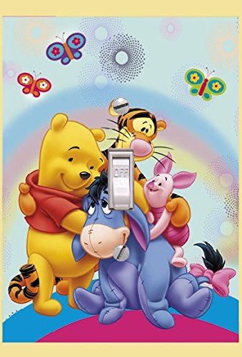 (Winnie The Pooh and friends-Pooh Rainbow Light switch Cover- Pooh- Switch Plate Cover-Wall plate cover)