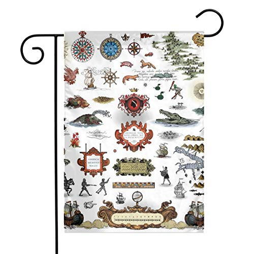 Woaiwodehuayuanqi Antique Map Elements, Sea Monster Home Sweet Home Garden Flag Vertical Double Sided Spring Summer Yard Outdoor Decorative 12 X 18 Inch-Holiday Flag