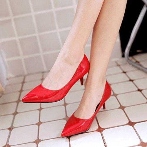 Slip Chaussures Petit Pointu Pure Cuir Talon Dames Couleur à Respirent OL Miroir PU Bout Escarpin Travaille Vernis Escarpins Rétro On Inconnu Rouge Mariage Pompes Aiguille C6wxwz