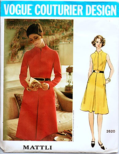 Vogue Couturier Design 2620 Misses 1970's Designer Dress Vintage Sewing Pattern Check Offers for Size Designer ()