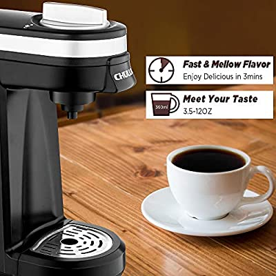 CHULUX Single Serve Coffee Maker, Personal Coffee Brewer Machine for Single Cup Pods & Reusable Filter, 12oz Water Tank, Quick Brewing, One Touch Operation, Compact Size, for Office, Travel