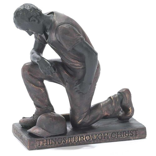 Dicksons Through Christ Praying Baseball 5 inch Gray Resin Stone Table Top Figurine