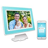 PhotoSpring (16GB) 10-Inch IPS, WiFi, Touchscreen, Battery, iPhone & Android App, Photo & Video, Digital Picture Frame (White with Sky Blue Mat) 15,000 photo capacity For Sale