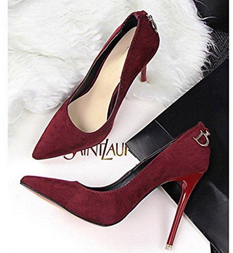 Minetom Mujer Zapatos de Tacón con Punta Cerrada Clásico Trabajo High Heel Shoes Ante Zapatos de Tacón Stiletto Vino Rojo