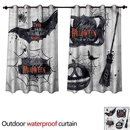 cobeDecor Vintage Halloween Outdoor Balcony Privacy Curtain Holiday Witch W96 x L72(245cm x 183cm) -