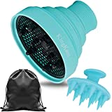 Collapsible Hair Dryer Diffuser Attachment - Lightweight Portable with Travel Bag