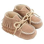 Gloous Baby Newborn Tassel Soft Sole Shoes Boys Girls Anti-Slip Toddler Crib Prewalker (0~6 M, Brown)