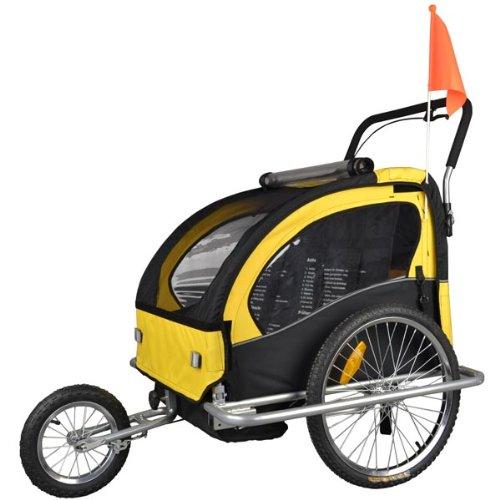 Convertible Jogger Remorque à Vélo 2 en 1, pour enfants - 502-04 Jaune/Noir