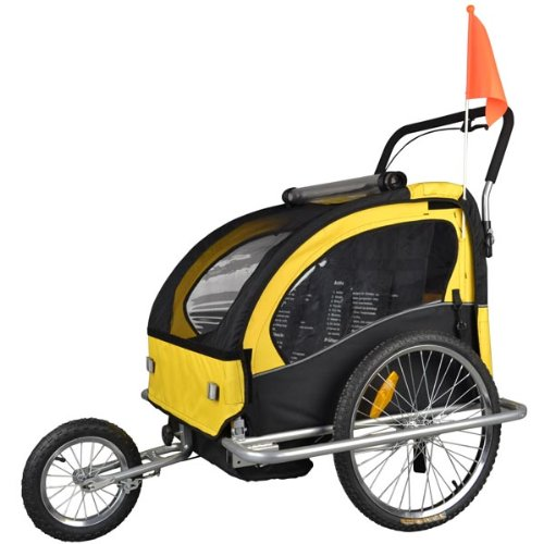 Veelar Children Double Bicycle Trailer Jogging Stroller Combo 2 in 1 Yellow/BlACK 50204