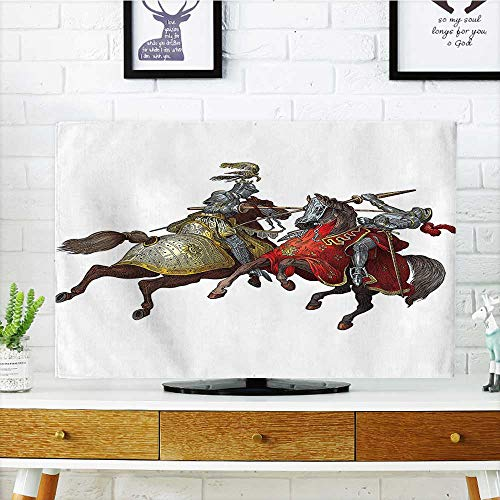 Jiahonghome Cord Cover for Wall Mounted tv Middle Age Fighters Knights with Ancient Costume Renaissance Period Illustration Artwork Multi Cover Mounted tv W36 x H60 INCH/TV 65