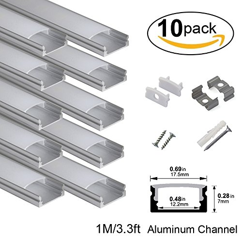 U-channel Mounting (hunhun 10-Pack 3.3ft/1Meter U Shape LED Aluminum Channel System With milky Cover, End Caps and Mounting Clips, Aluminum Profile for LED Strip Light Installations, Very Easy Installation)