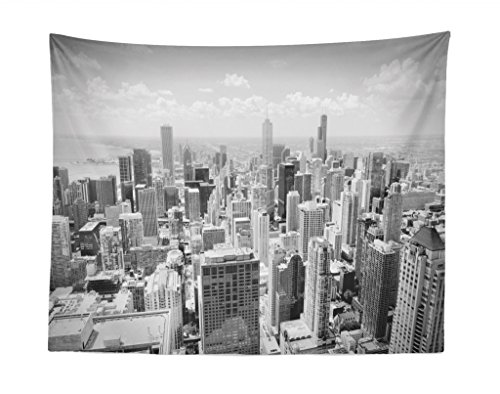 Lunarable USA Tapestry, Chicago City Skyline Aerial View Contemporary Famous Touristic Places Picture Print, Fabric Wall Hanging Decor for Bedroom Living Room Dorm, 28