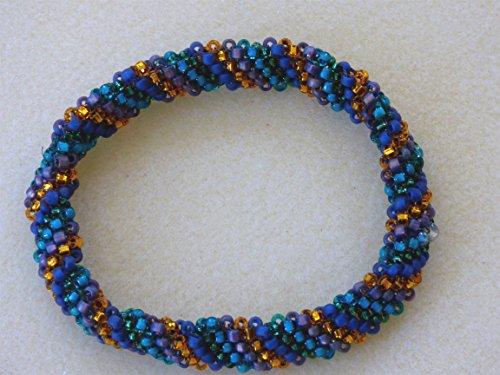 Green, Blue, Purple and Gold Seed Bead Bangle Bracelet