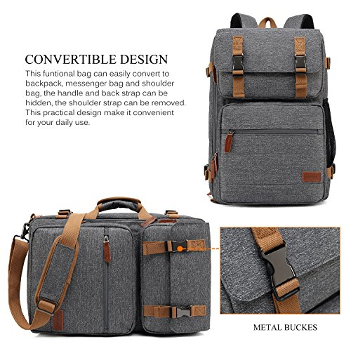 CoolBELL Convertible Briefcase Backpack Messenger Bag Shoulder bag Laptop Case Business Briefcase Travel Rucksack Multi-functional Handbag Fits 17.3 Inch Laptop For Men/Women (Grey) by CoolBELL (Image #1)