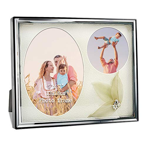 PETAFLOP Family Oval Picture Frames 5x7, Round Photo Frame 4x4 with Glass Front for Wall and Tabletop Display