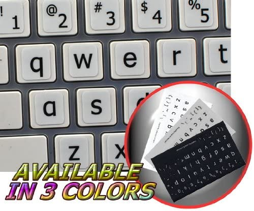 Lower CASE New Keyboard Decals White Background MAC English Large Lettering