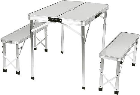 Turefans Mesas y sillas de Camping, 1 Mesa para Acampada, 2 Bancos, Aleación de Aluminio, Plegable, Camping, Barbacoa