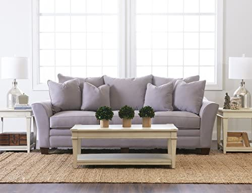 Klaussner Home Furnishings Paxton Sofa with 4 Throw Pillows, 44 L x 99 W x 31 H, Dove
